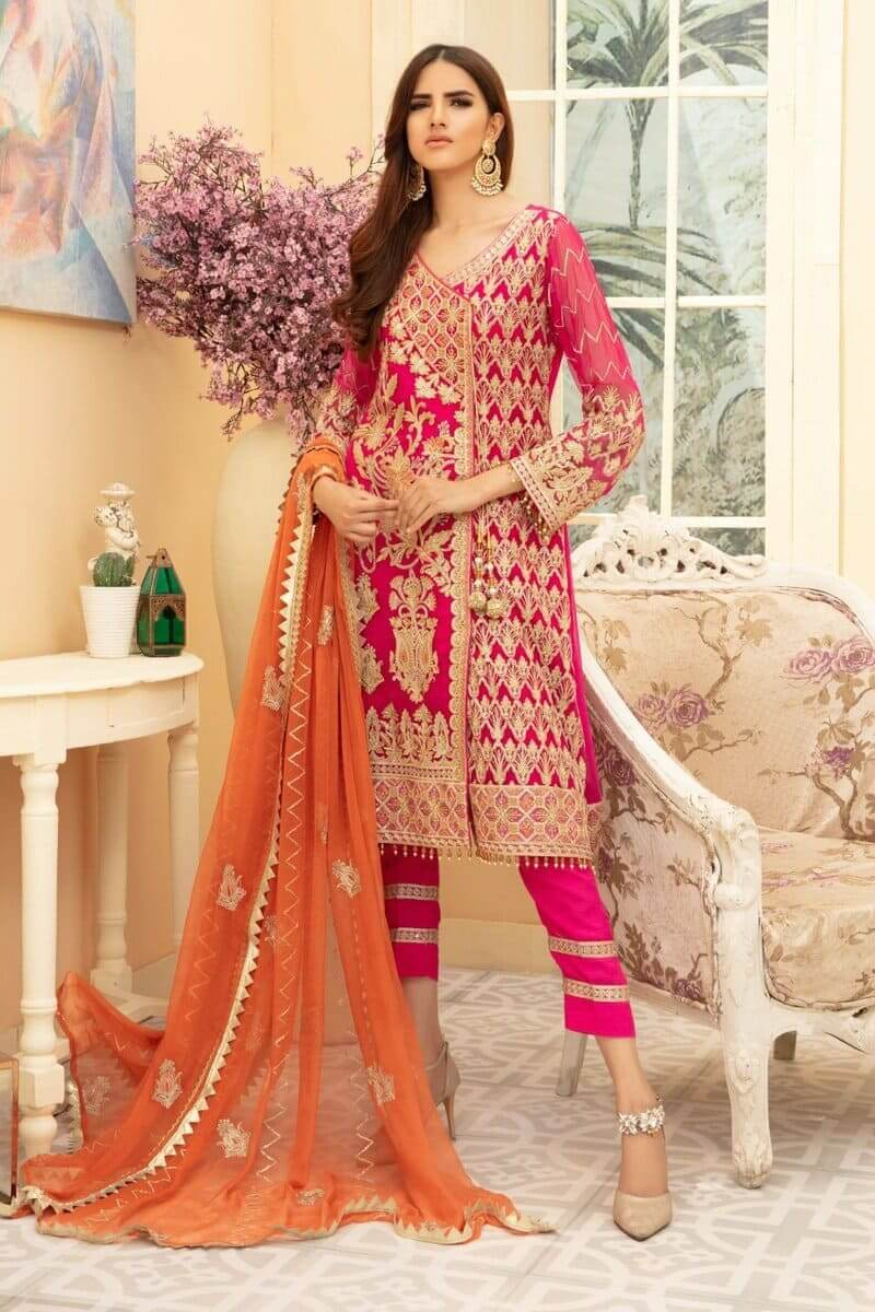 Maryam N Maria Premium Chiffon Collection 2020 PINKILE WHELITE MMD-01
