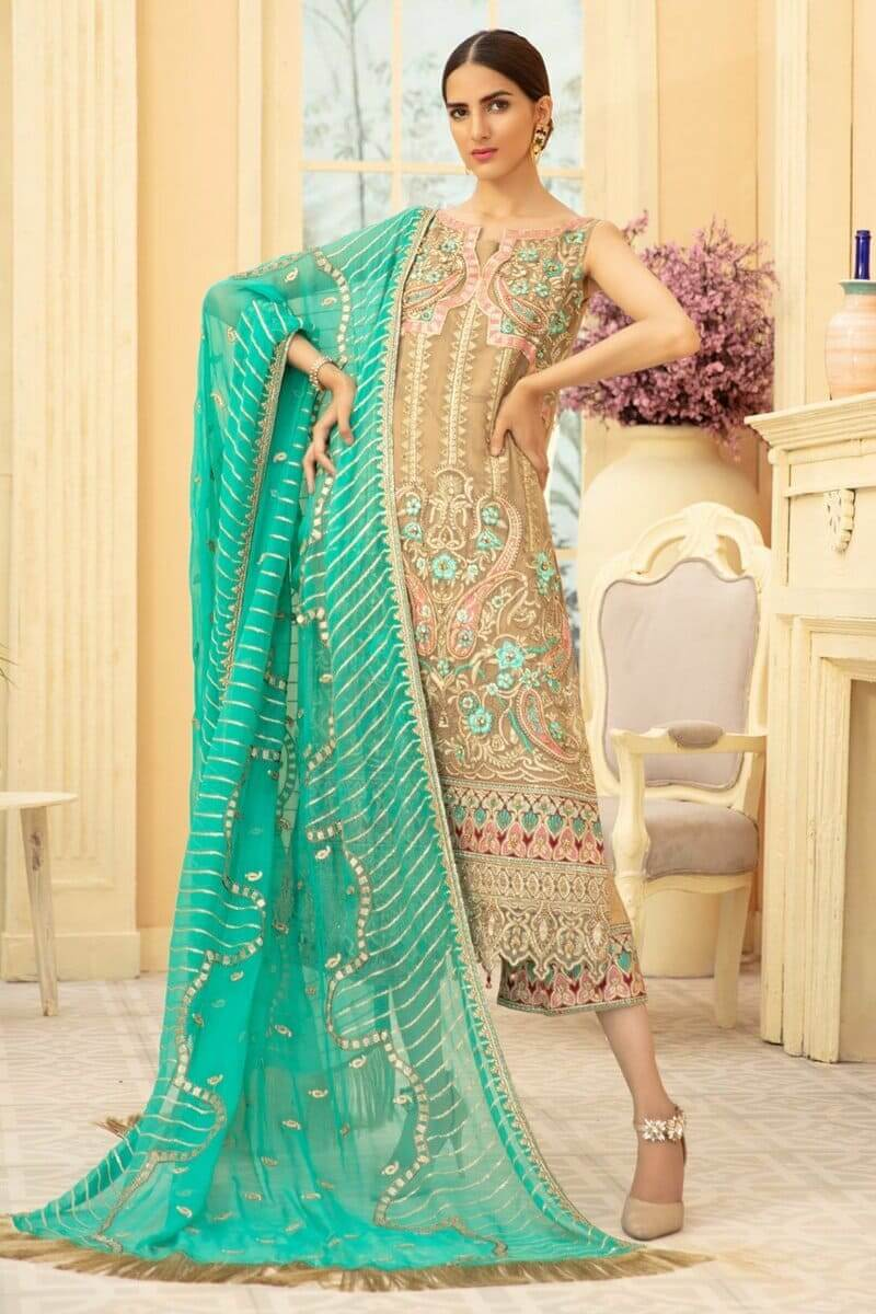 Maryam N Maria Premium Chiffon Collection 2020 PINKILE WHELITE MMD-08