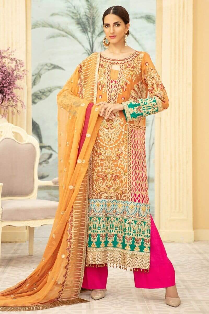 Maryam N Maria Premium Chiffon Collection 2020 PINKILE WHELITE MMD-10