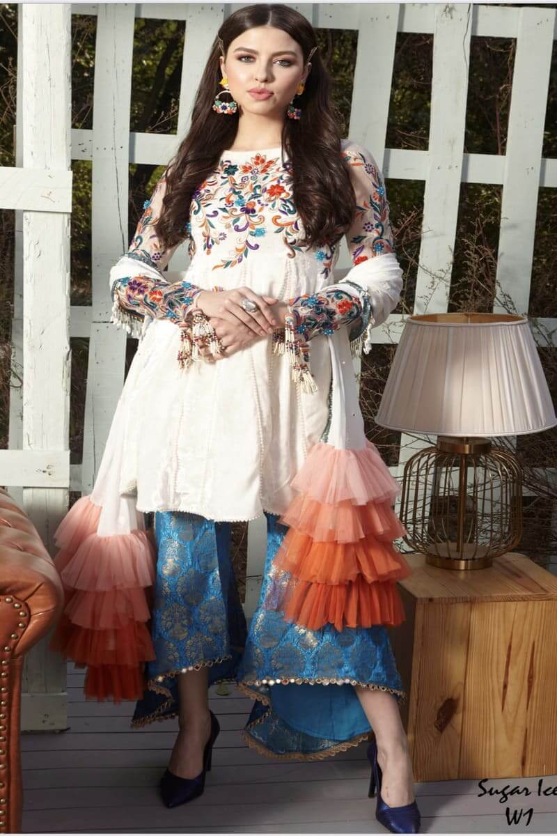 Zara Hayaat Winter Festive Collection 2020 Pakistani Suits Sugar Ice W1