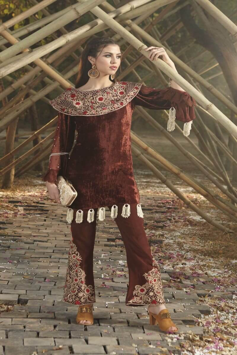 Zara Hayaat Winter Festive Collection 2020 Pakistani Suits Caramel W10