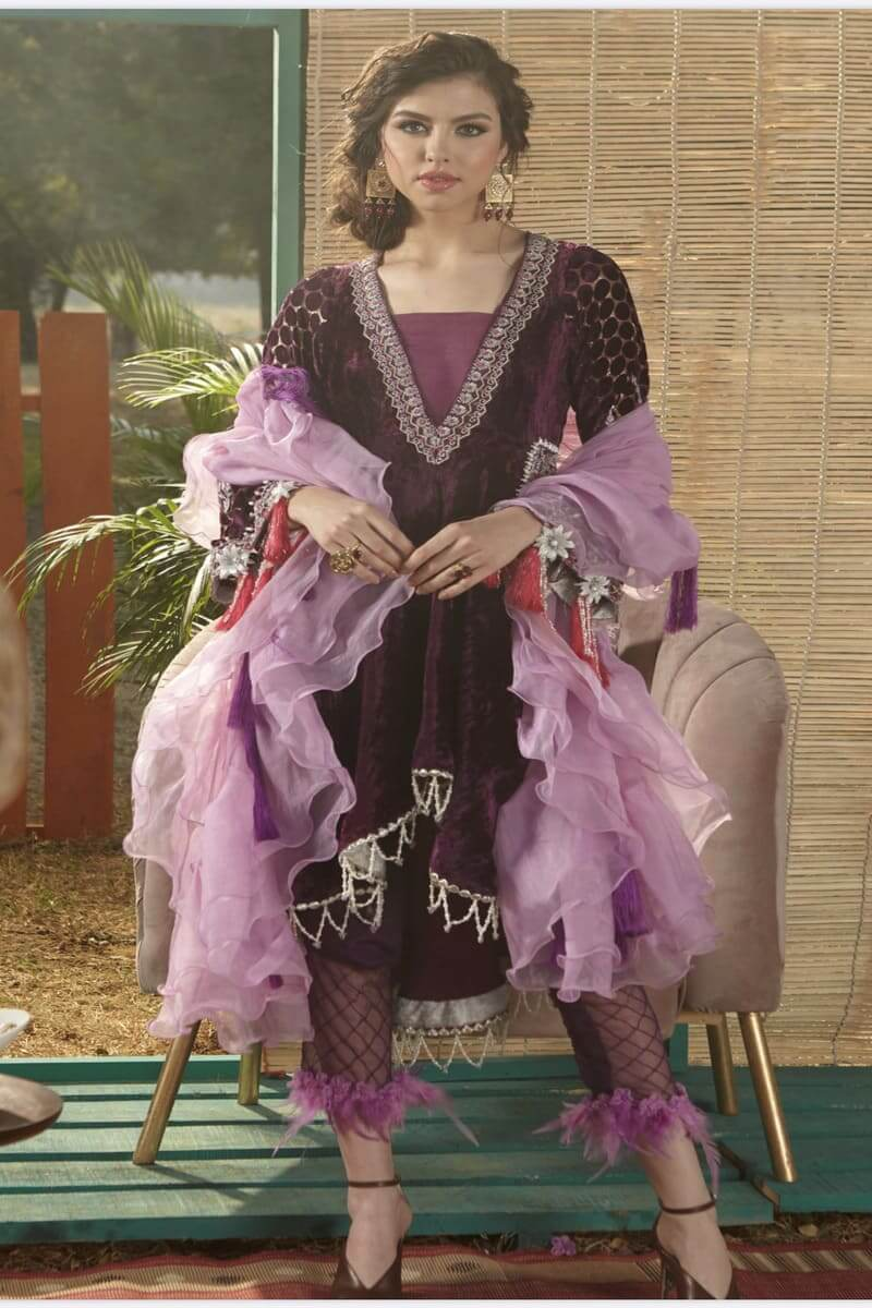Zara Hayaat Winter Festive Collection 2020 Pakistani Suits Periwinkle W2