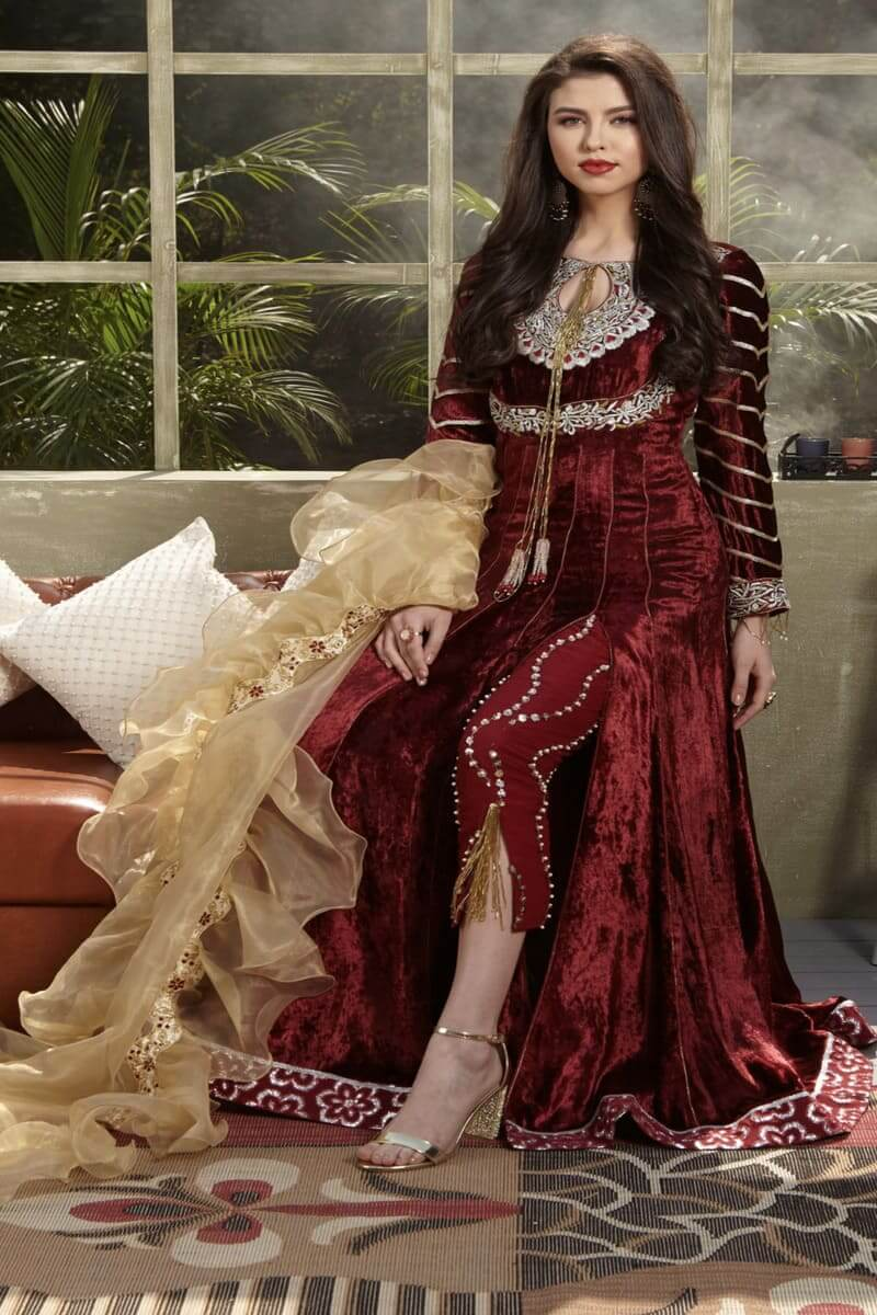 Zara Hayaat Winter Festive Collection 2020 Pakistani Suits Rose Wood W7