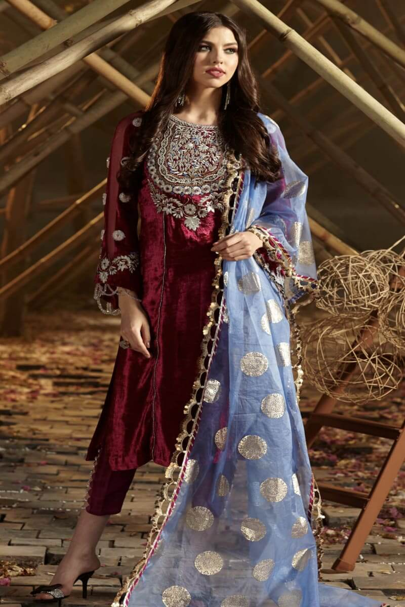 Zara Hayaat Winter Festive Collection 2020 Pakistani Suits French Rose W9