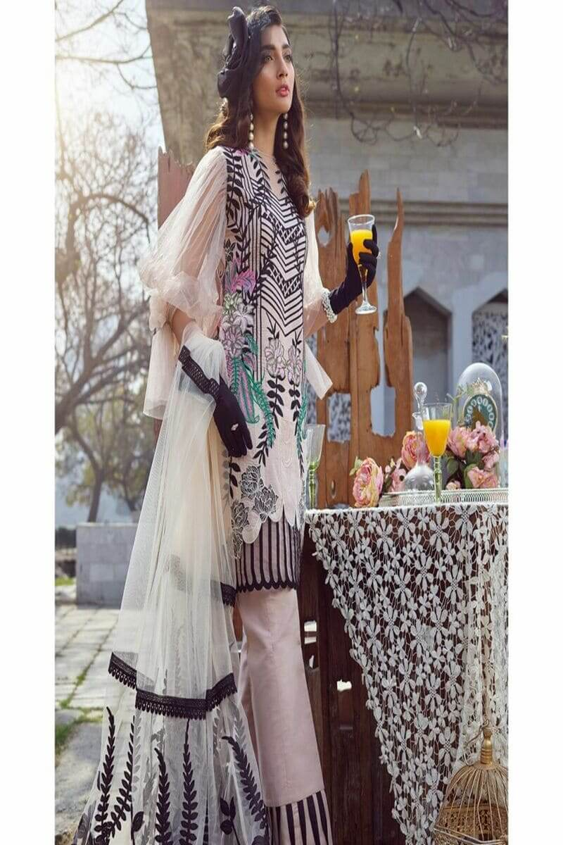 Asifa Nabeel Summer Luxury Lawn 2020 Pakistani Suits 1-A Black Laser