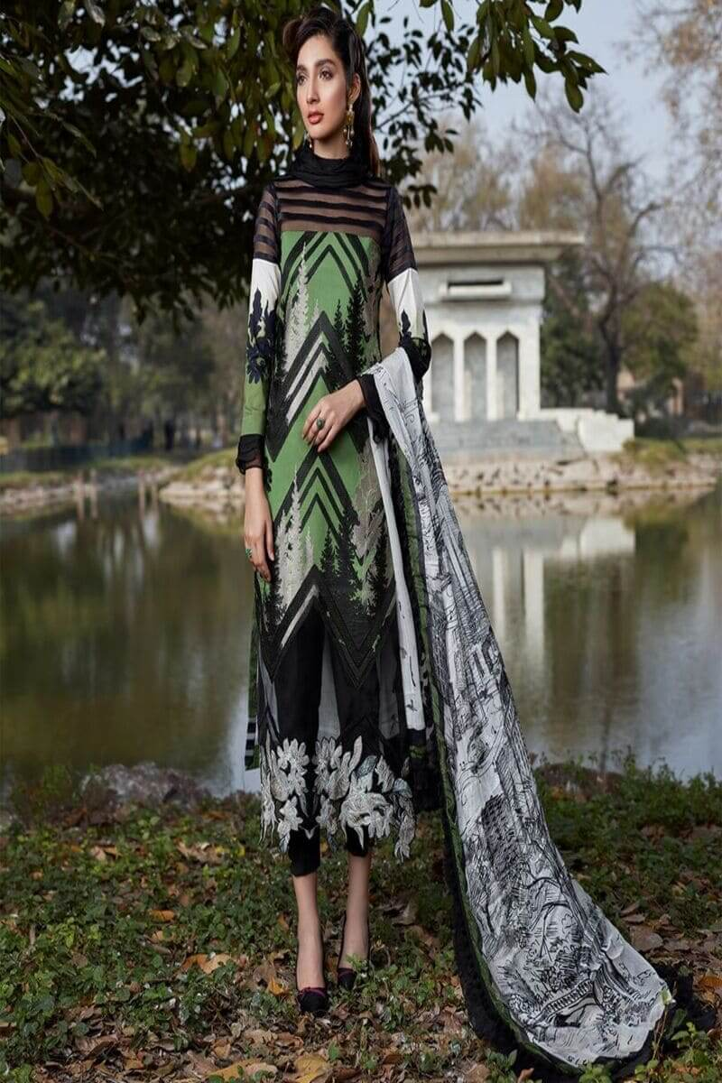 Asifa Nabeel Summer Luxury Lawn 2020 Pakistani Suits 44-C A NEW LEAF