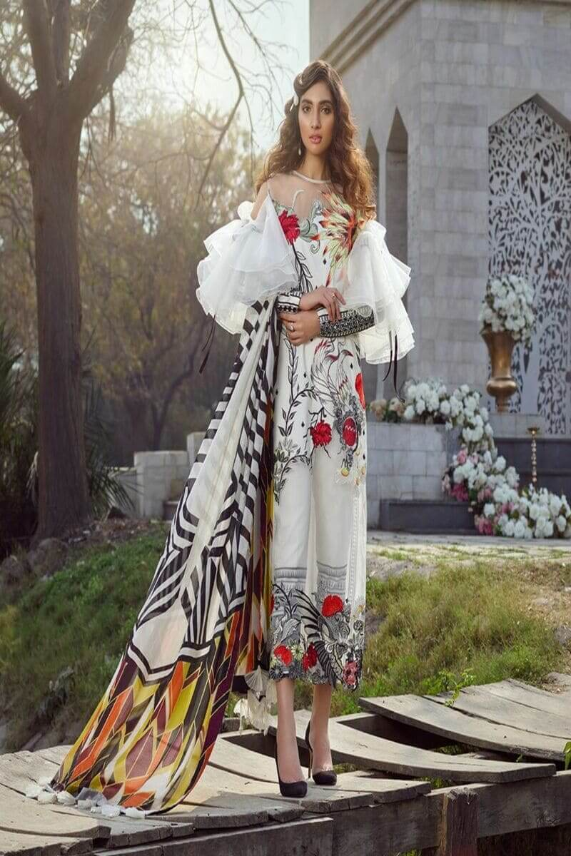 Asifa Nabeel Summer Luxury Lawn 2020 Pakistani Suits 44-C THE WHITE BIRD